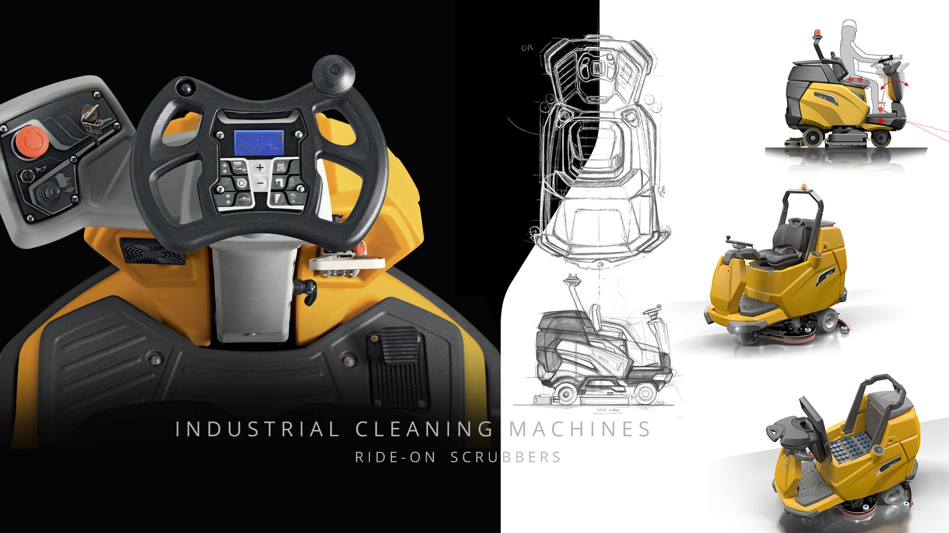 AMV Design Industrial cleaning machines: Ride-on Scrubbers